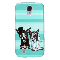 Boston Terrier Bride and Groom Galaxy S4 Cover