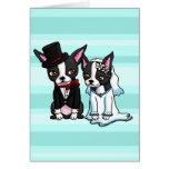 Boston Terrier Bride and Groom Greeting Card