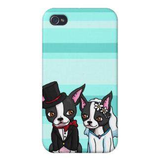 Boston Terrier Bride and Groom iPhone 4 Case