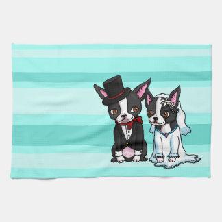Boston Terrier Bride and Groom Kitchen Towel