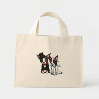 Boston Terrier Bride and Groom Mini Tote Bag