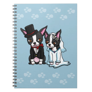 Boston Terrier Bride and Groom Notebook