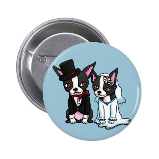 Boston Terrier Bride and Groom Pinback Button