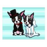 Boston Terrier Bride and Groom Postcard
