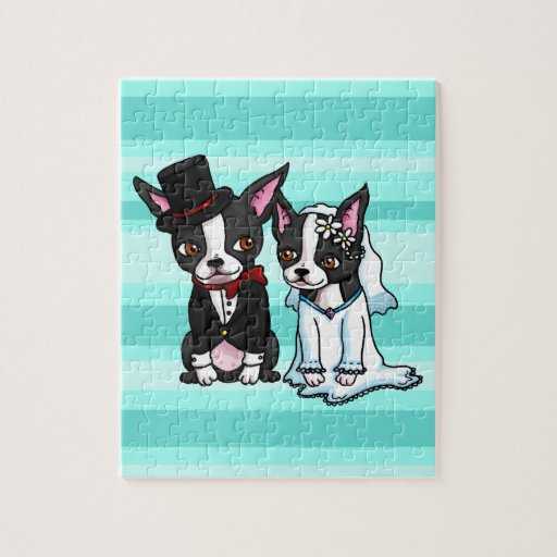 Boston Terrier Bride and Groom Puzzle