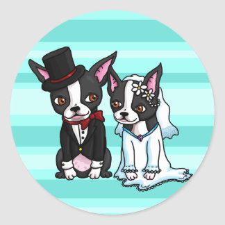 Boston Terrier Bride and Groom Round Stickers