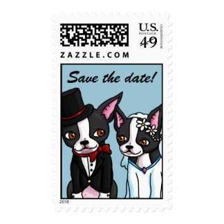 Boston Terrier Bride and Groom Save Date postage