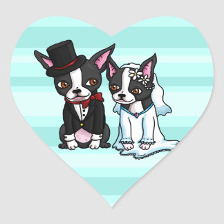 Boston Terrier Bride and Groom Heart Sticker