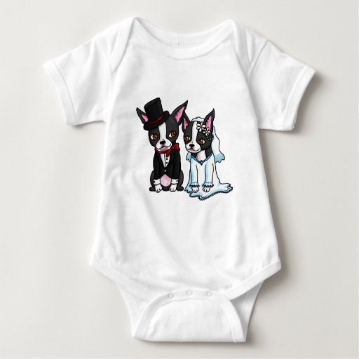 Boston Terrier Bride and Groom T Shirts