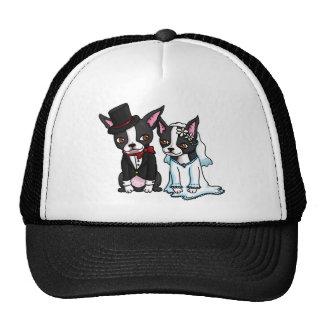 Boston Terrier Bride and Groom Trucker Hat