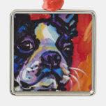 Boston Terrier Bright Colorful Pop Dog Art Ornament