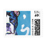 Boston Terrier Bright Colorful Pop Dog Art Postage
