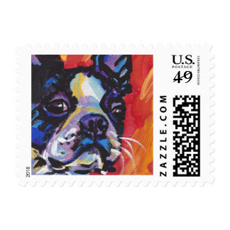 Boston Terrier Bright Colorful Pop Dog Art Postage Stamp