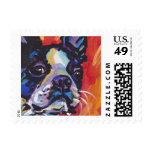 Boston Terrier Bright Colorful Pop Dog Art Stamp