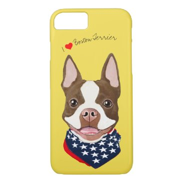 USA Themed Boston Terrier (Brown) Illustrated Cell Phone Case
