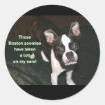 Boston Terrier: btzoomies Round Sticker