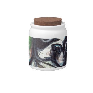 Boston Terrier butterfly green Candy Dish