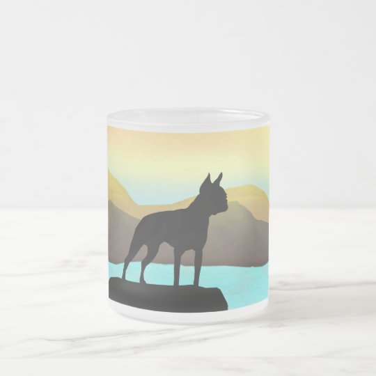Boston Terrier By The Sea Frosted Glass Coffee Mug