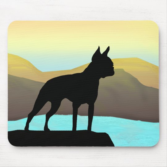 Boston Terrier By The Sea Mouse Pad