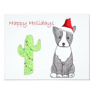 Boston Terrier Cactus Christmas Card