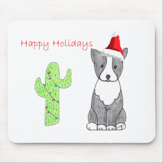 Boston Terrier Cactus Christmas Mouse Pad