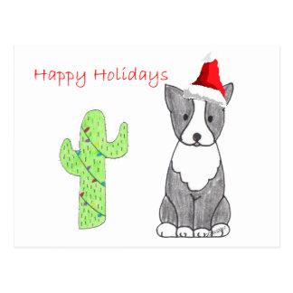 Boston Terrier Cactus Christmas Postcard
