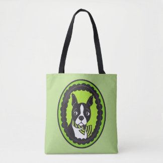 Boston Terrier Cameo Green and Black Tote Bag