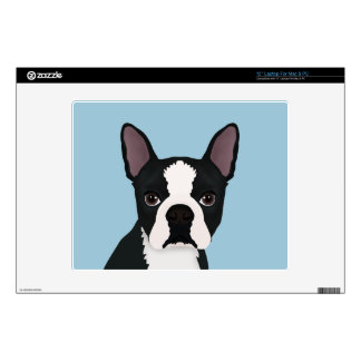 "boston terrier cartoon 12"" laptop skin"