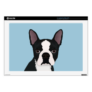 "boston terrier cartoon 17"" laptop decal"