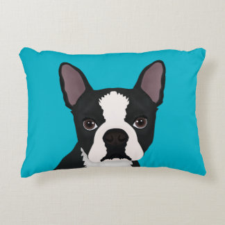 boston terrier cartoon accent pillow