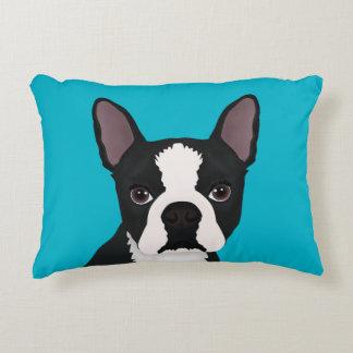 boston terrier cartoon accent pillow