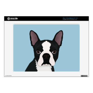 boston terrier cartoon acer chromebook skin