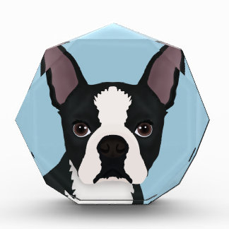 boston terrier cartoon acrylic award