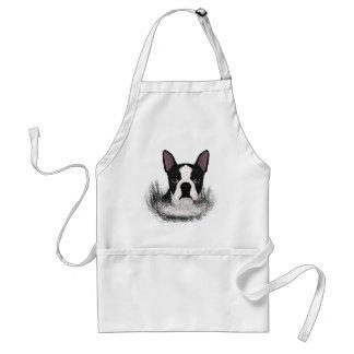 boston terrier cartoon adult apron