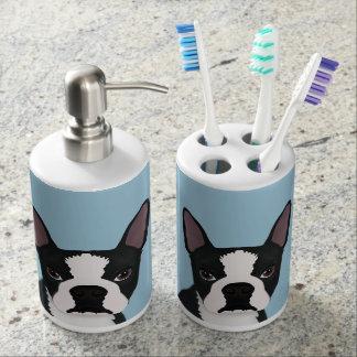 boston terrier cartoon bathroom set