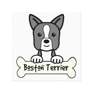 Boston Terrier Cartoon Canvas Print
