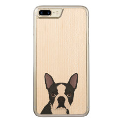 Carved Apple iPhone 7 Plus Wood Case with Boston Terrier Phone Cases design