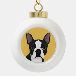 boston terrier cartoon ceramic ball christmas ornament