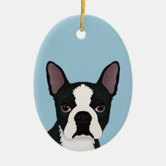 boston terrier cartoon ceramic ornament