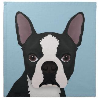 boston terrier cartoon cloth napkin
