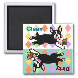 Boston Terrier Cartoon Dirty / Clean 2 Inch Square Magnet