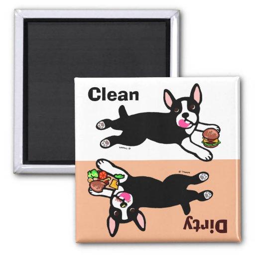 Boston Terrier Cartoon Dirty / Clean Magnets