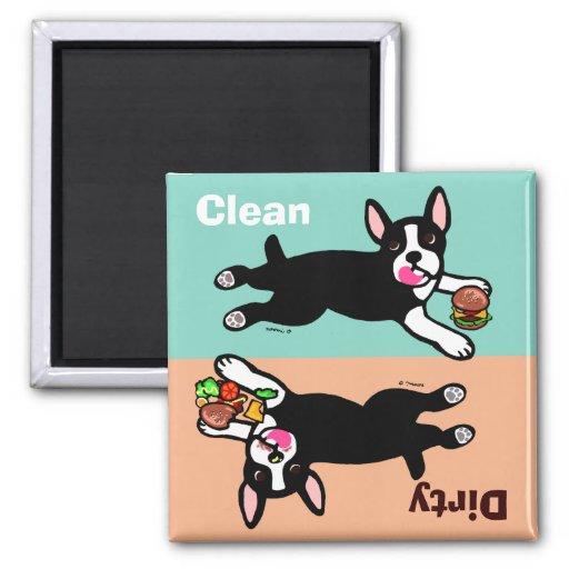 Boston Terrier Cartoon Dirty / Clean Fridge Magnets