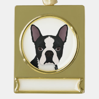 boston terrier cartoon gold plated banner ornament