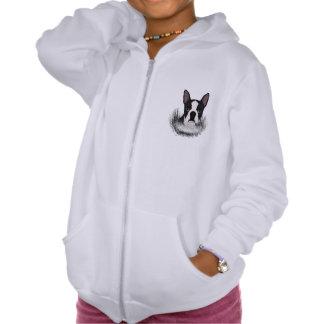 boston terrier cartoon hooded sweatshirt