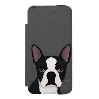 boston terrier cartoon iPhone SE/5/5s wallet case