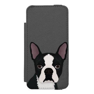 boston terrier cartoon iPhone SE/5/5s wallet case