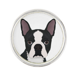 boston terrier cartoon lapel pin