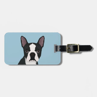 boston terrier cartoon luggage tag
