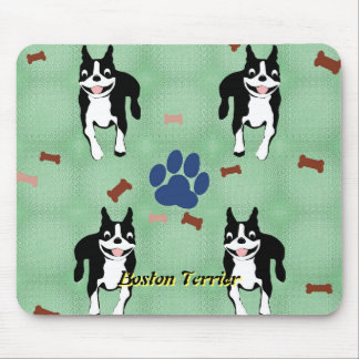 Boston Terrier Cartoon Mouse Pad